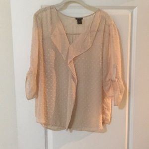 Ann Taylor tan blouse with subtle polka dots